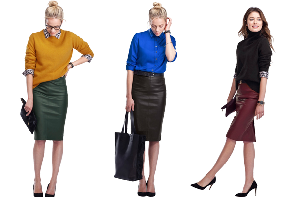how to wear leather pencil skirt