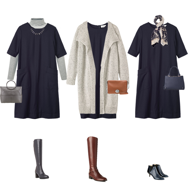 capsule wardrobe, one dress 3 ways