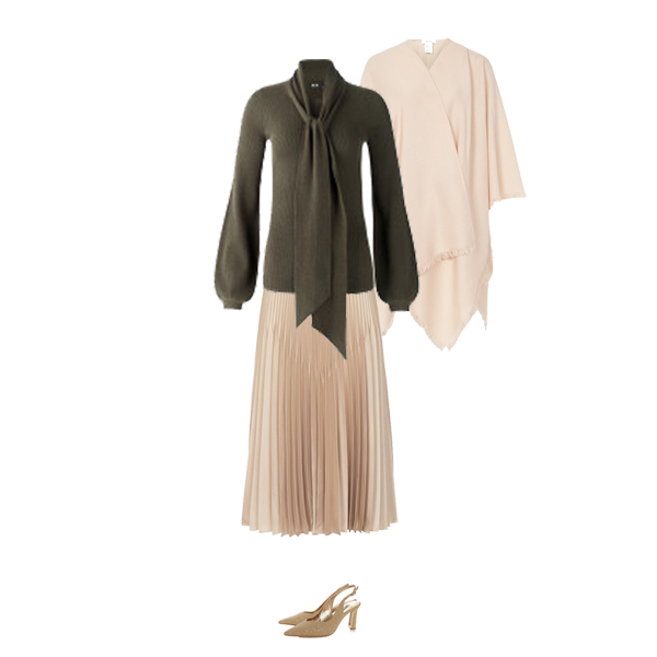 must have knits, me and em olive green balloon sleeve sweater, gold pleat skirt, gold shoes, cream wool wrap,