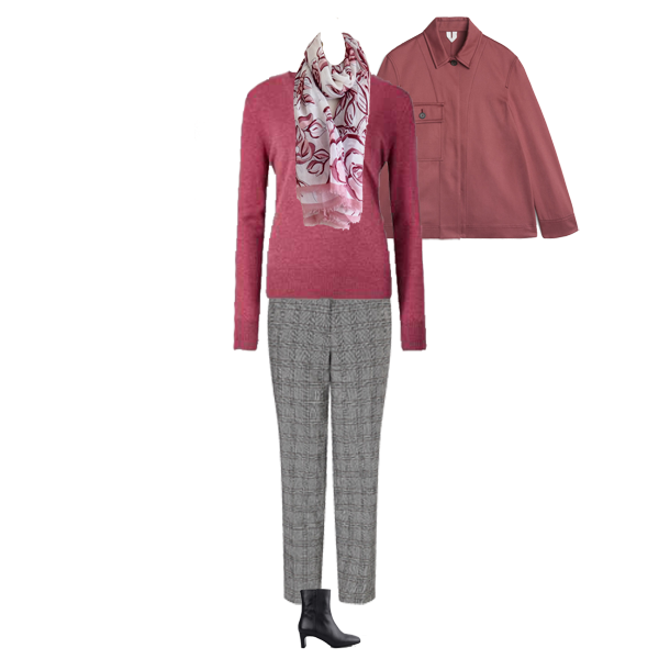 must have knits, pink cashmere sweater, pink jacket, grey check trousers, capsule accessories floral scarf