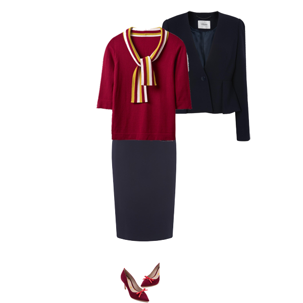 must have knits, Boden burgundy sweater with neck tie, LK Bennett navy skirt suit, burgundy court shoes