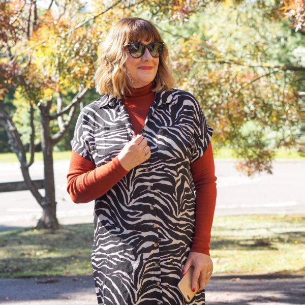maria sadler, stylist and fashion blogger, how i am wearing animal print, zebra stripe dress, rest roll neck, Gucci sunglasses,