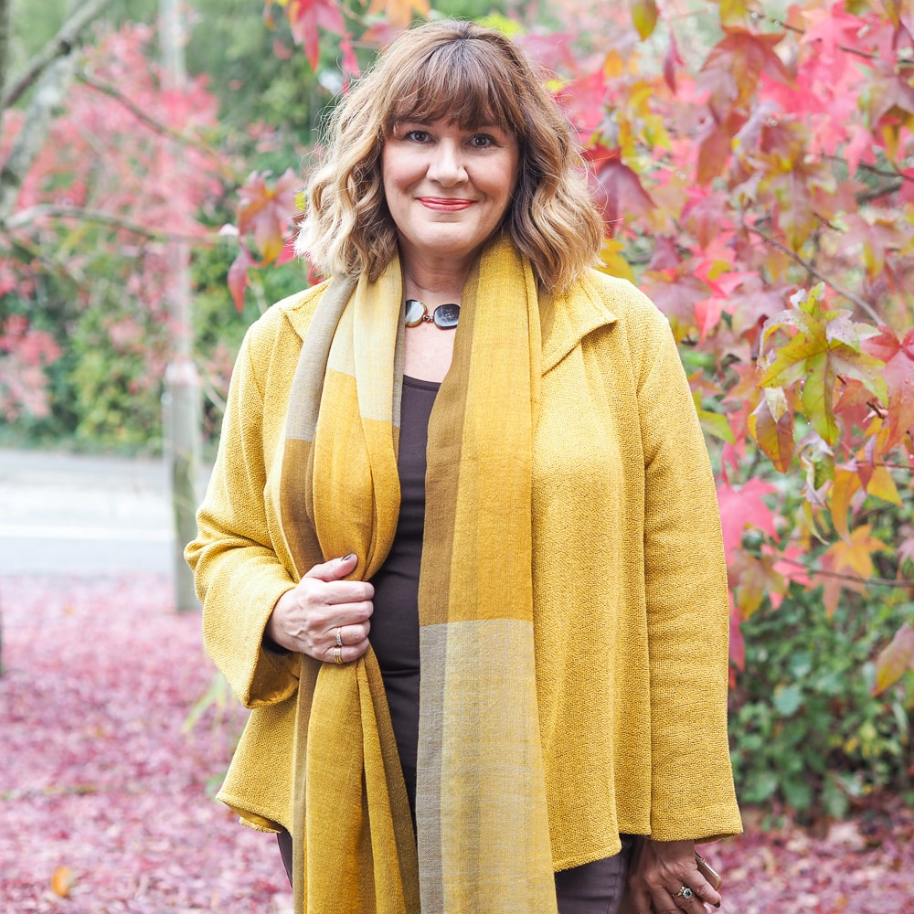 how to wear colour, Maria Sadler, Stylist, wearing yellow jacket