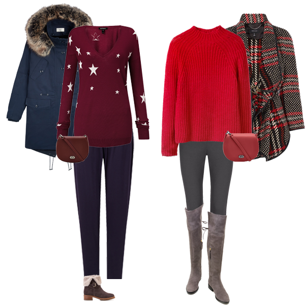 How to do casual wear, Navy parka coat, burgundy star print sweater, shearling boots, red sweater, tartan print cape, Winser miracle leggings, over knee boots,