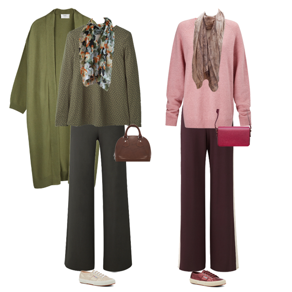 Ho to do casual wear, ME+EM palazzo trousers, green, burgundy, Hush oversize green cardigan, Baukjen pink jumper, Superga trainers