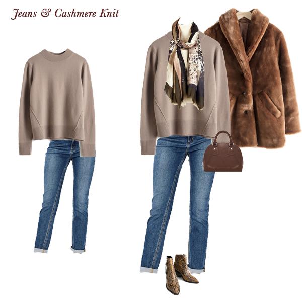 Timeless Outfit Combinations, taupe cashmere knit, jeans, Faux fur coat, animal print scarf, snake cowboy boots, bowling bag
