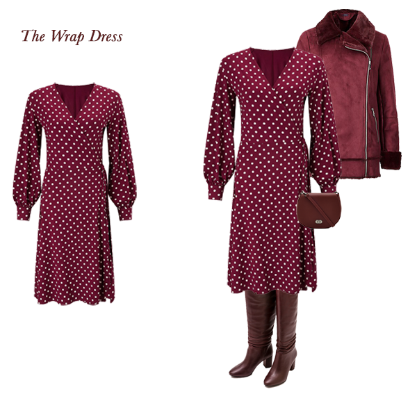 Timeless Outfit Combinations, burgundy spot wrap dress, burgundy shearling jacket, burgundy slouch boots, burgundy saddle bag