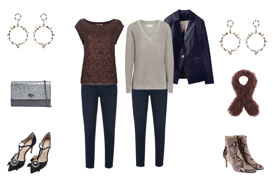 Christmas wardrobe Essentials, Velvet jacket, sparkly knit and top with jeans