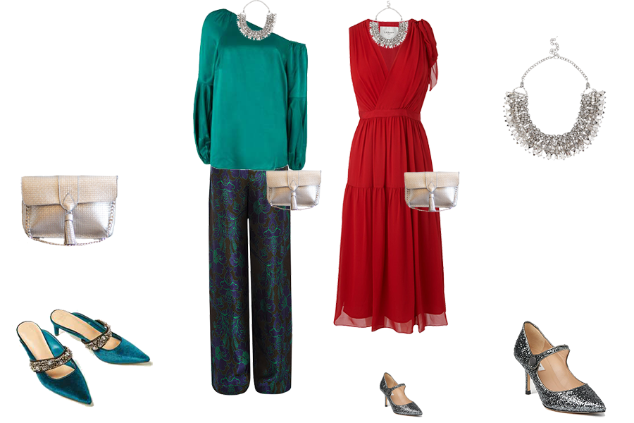 Party outfits to suit your colouring - bright colouring, Mint Velvet emerald green top, Karen Millen jacquard trousers, LK Bennett red dress