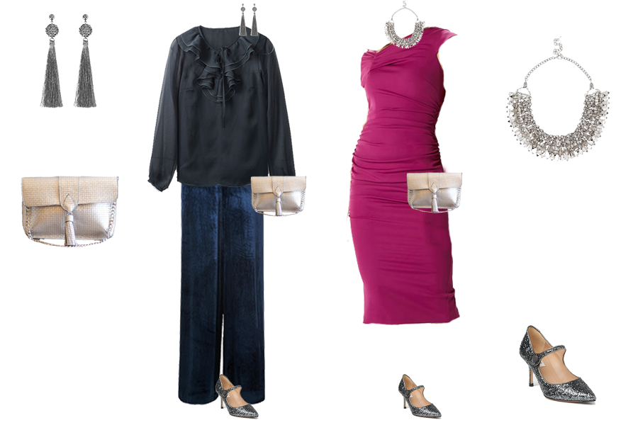 Party outfits to suit your colouring - cool colouring LK Bennett navy velvet trousers, Boden navy ruffle blouse, Coast bright pink dress