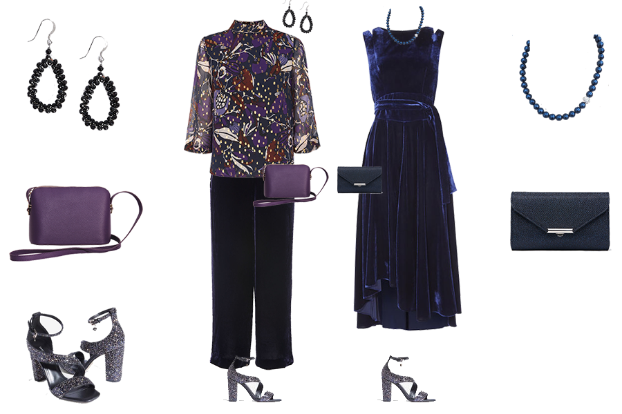 Party outfits to suit your colouring - deep colouring, Karen Millen Blue velvet dress, Whistles purple velvet trousers and purple gold print top