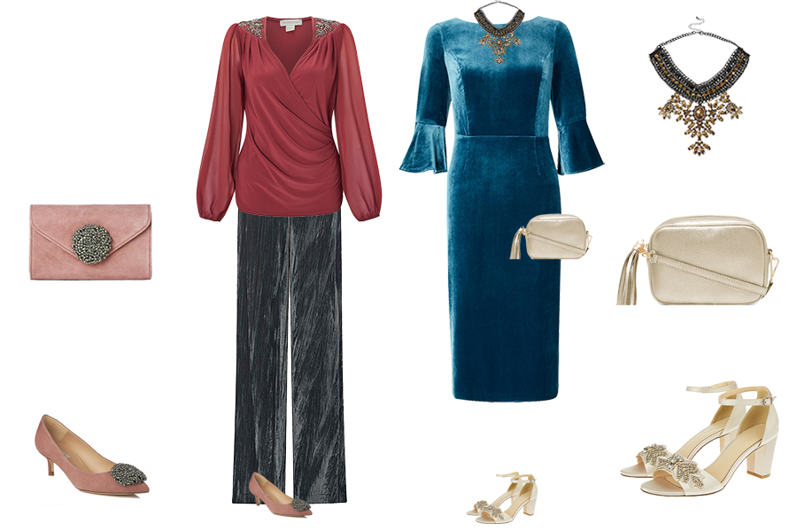 Party outfits to suit your colouring - soft colouring, Monsoon pink wrap top and grey velvet trousers, Boden teal velvet dress