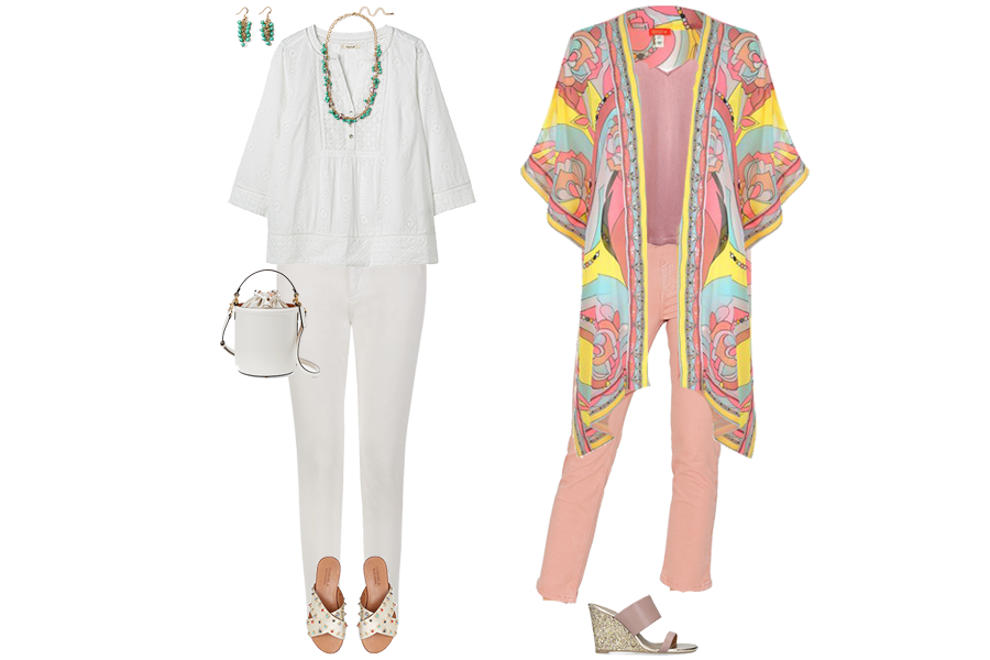 best jeans for women over 40, white jeans with boho top and bead sandals, pink jeans with kimono jacket and wedge sandals