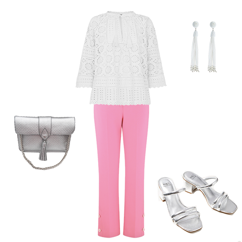 white capsule wardrobe, white lace top, pink sandals, silver bag and sandals
