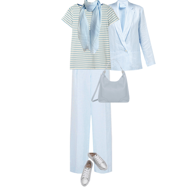 linen blazer and matching trousers, with t-shirt and trainers