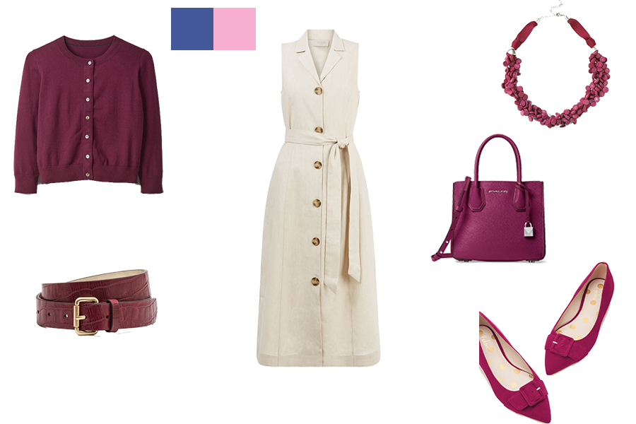 how to mix colours for cool colouring, stone dress and maroon accessories