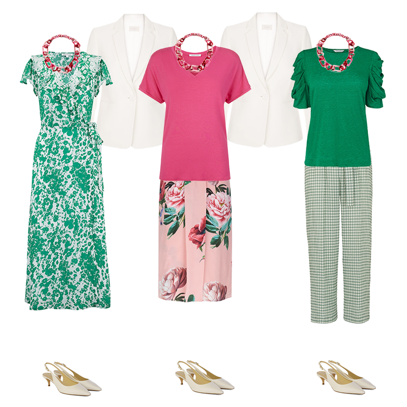 Mini capsule wardrobes, cool colouring, green dress, pink skirt and top, green top, gingham trousers
