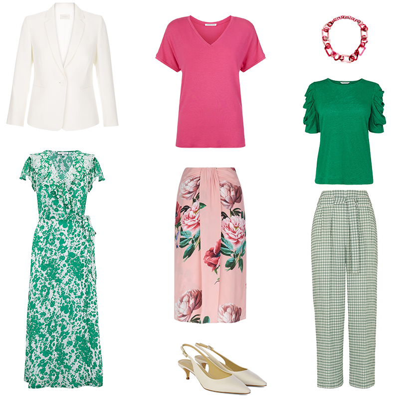 Mini Capsule Wardrobes - Cool Colouring, pieces in emerald green and pinks