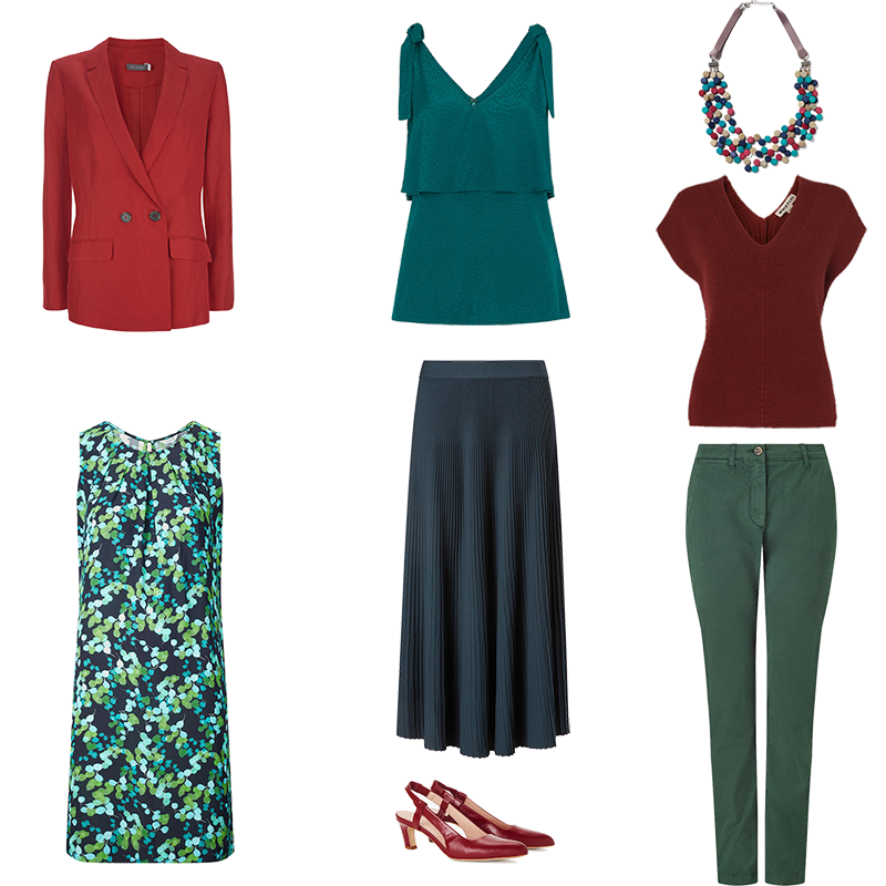 Mini Capsule Wardrobes - Deep Colouring, pieces in deep green and teal mixed with russet red