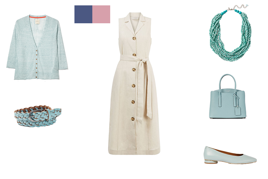 how to mix colours for light colouring, stone dress and duck egg accessories