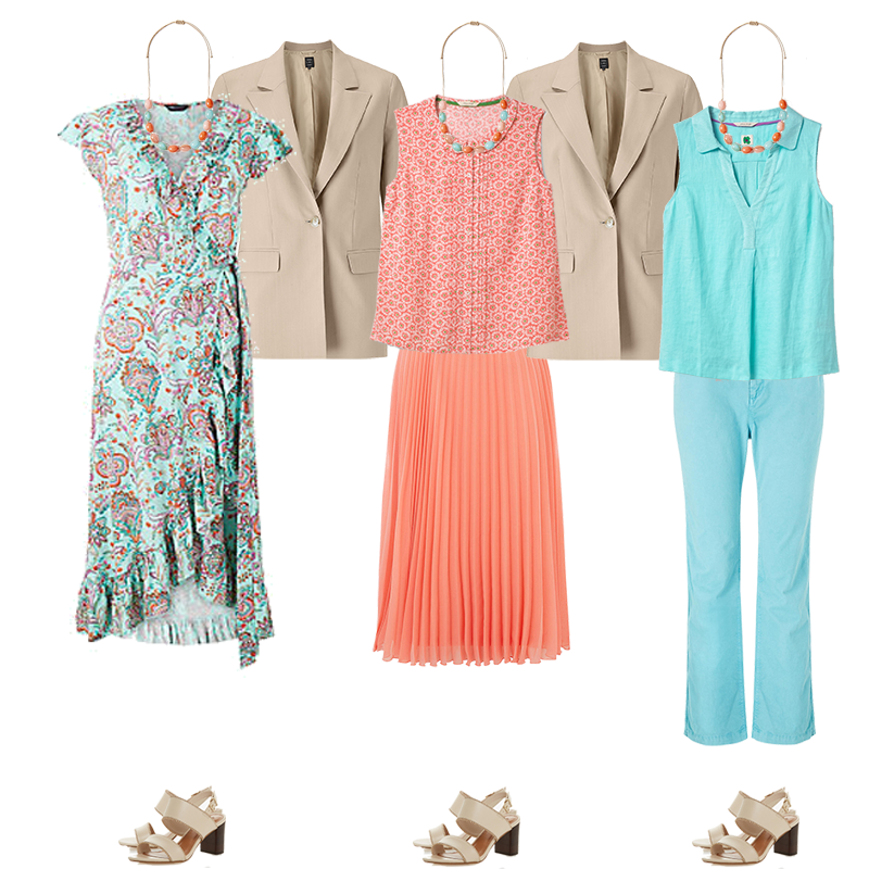 mini capsule wardrobes, light colouring, outfits dress, skirt outfit, chinos outfit