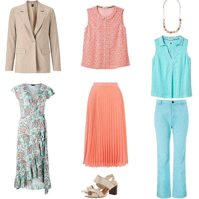 mini capsule wardrobes, light colouring, pieces in mint and salmon with biscuit neutral jacket