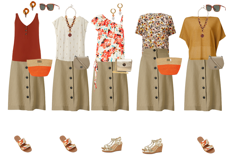 capsule wardrobe example, summer pieces in earthy tones