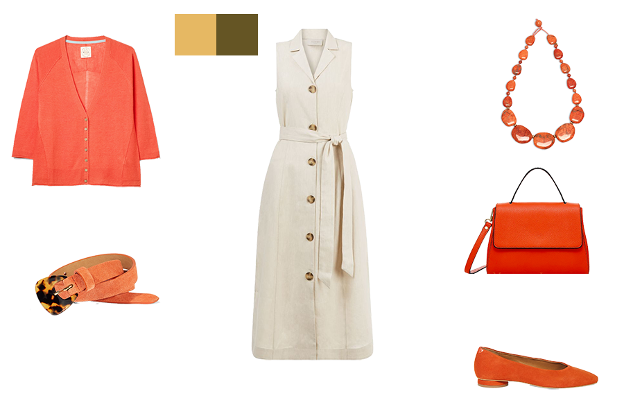 how to mix colours for warm colouring, stone dress and orange accessories