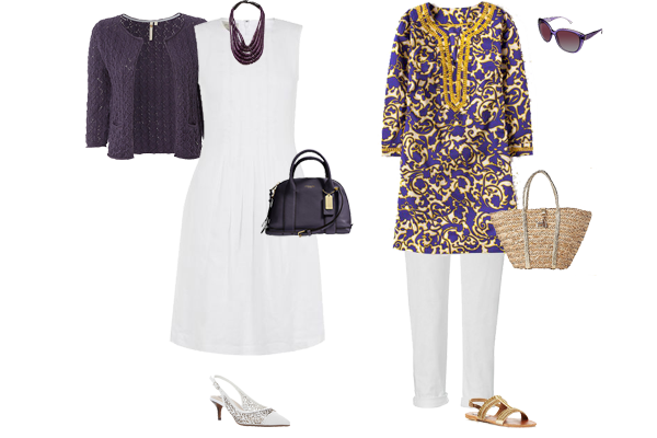 how to wear purple and white