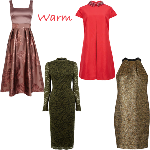 Party dresses for warm colouring