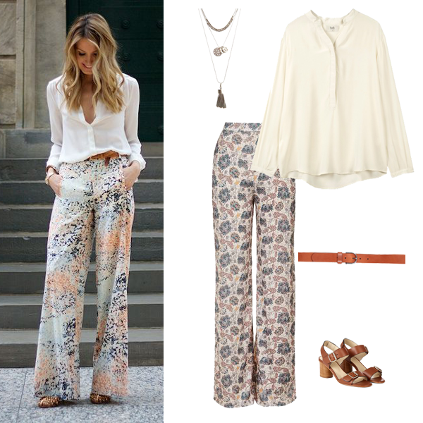 Summer outfit inspiration, how to wear wide leg print trousers,