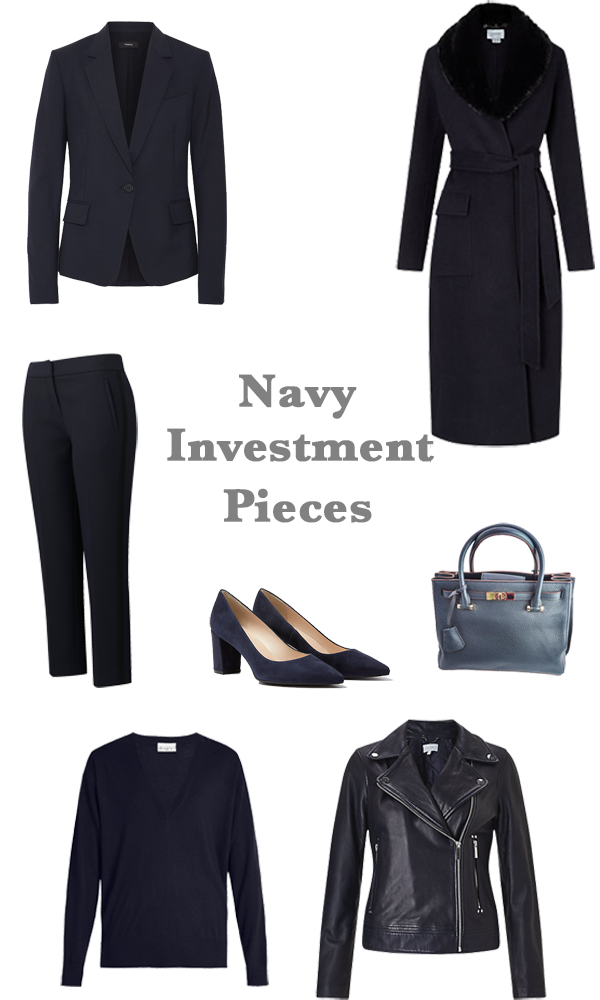 Capsule wardrobe investment pieces, what to buy in navy
