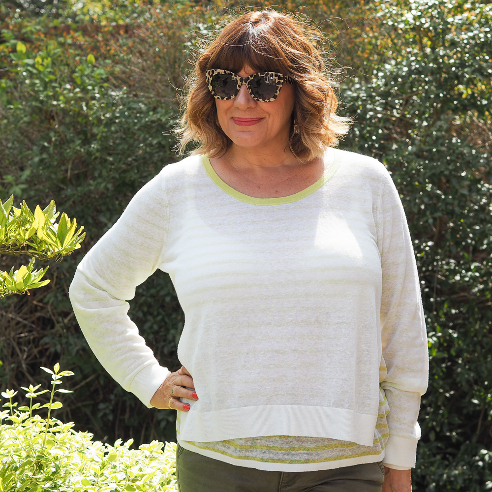 Maria Sadler stylist fashion blogger wearing Pure Collection multi tasking linen sweater