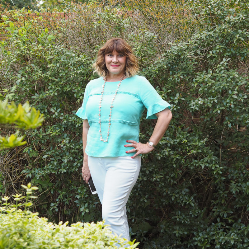 Pure Collection linen, Ruffle sleeve turquoise top