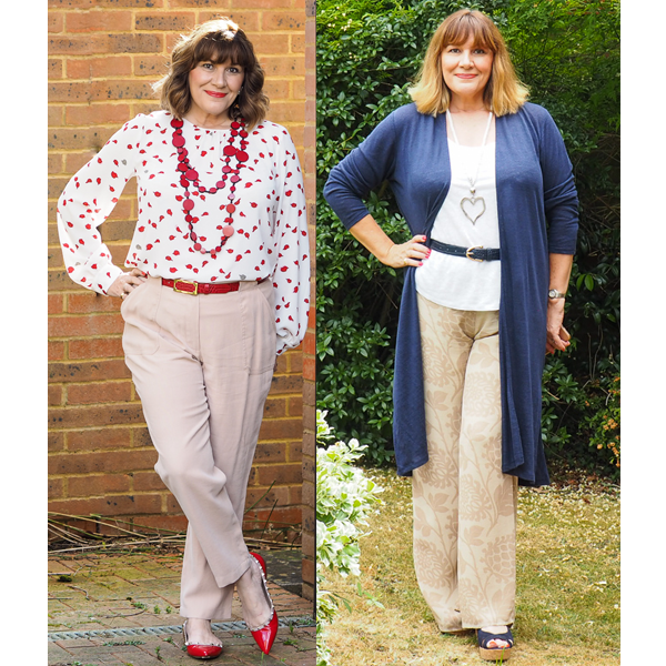 Maria Sadler Stylist and blogger wearing neutral trousers and red accessories, navy linen cardigan, Pure Collection