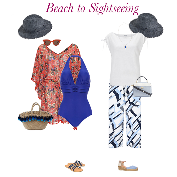 Summer outfit ideas, swimsuit, kaftan, hat, basket, crop trousers