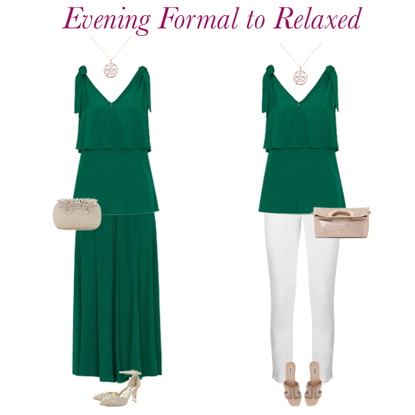 Summer outfit ideas, evening wear, Whistles green culottes, green camisole, white jeans, Dune embellished shoes