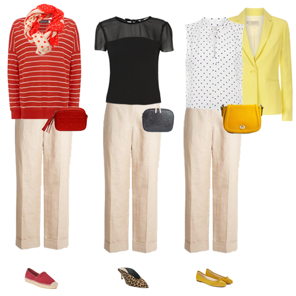 multi tasking linen wide crop trousers worn three ways, yellow linen jacket, red linen sweater