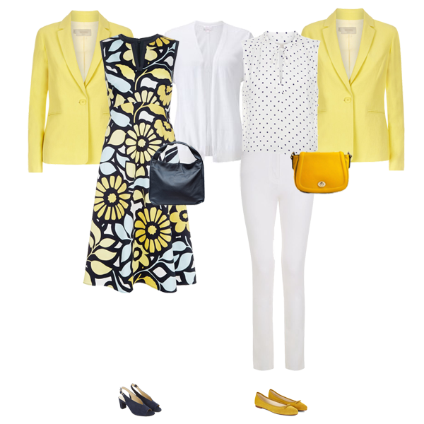 Hobbs yellow multi tasking linen jacker, floral dress white jeans Pure Collection white linen cardigan