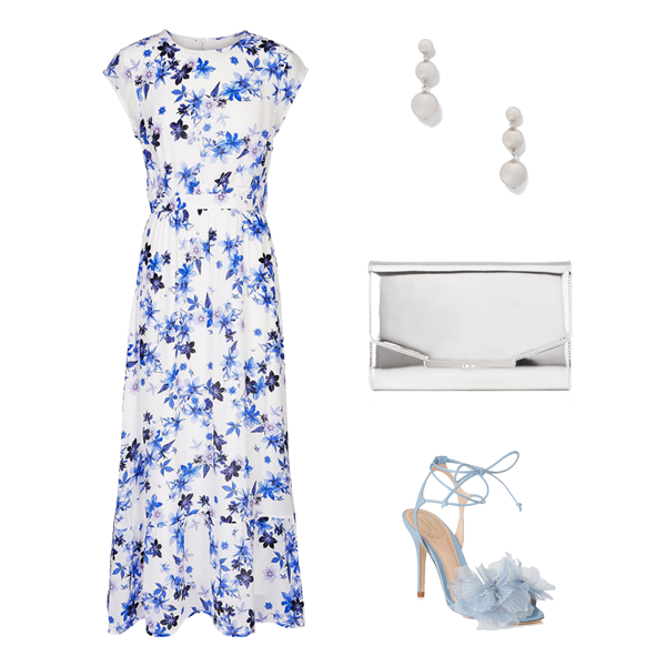 blue white floral maxi dress, how to style a maxi dress