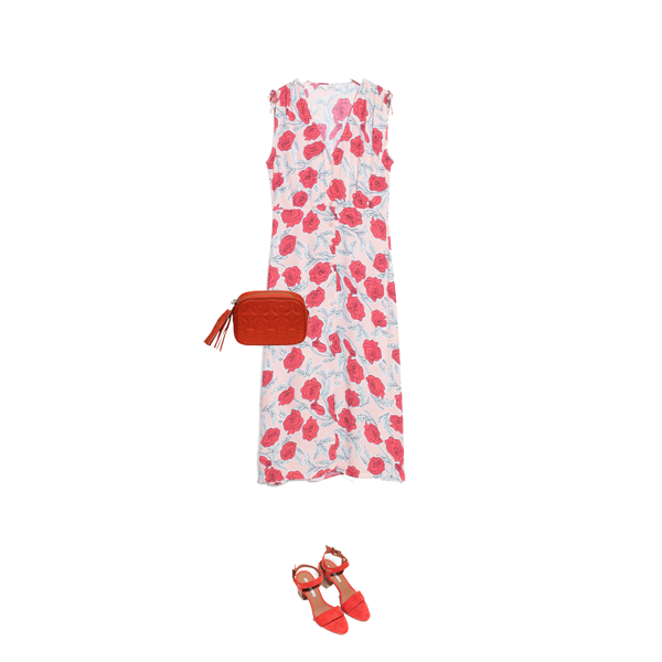 sale bargain dresses, red poppy print Other Stories dress, red sandals cross body bag