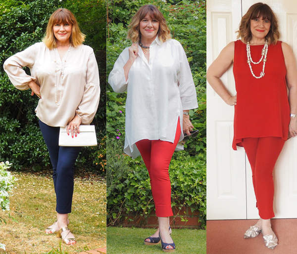 styling secrets, Maria Sadler stylist wearing 3 pairs slim leg trousers with long shirts