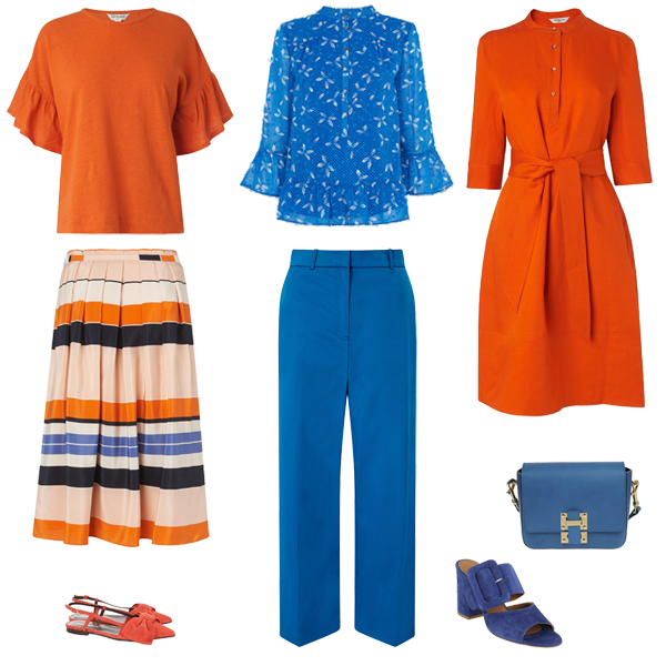 bright pieces orange dress, bright blue trousers, stripe skirt, orange shoes capsule wardrobe colour palette