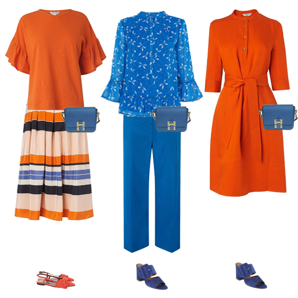 bright outfits orange dress, bright blue trousers, stripe skirt, orange shoes capsule wardrobe colour palette