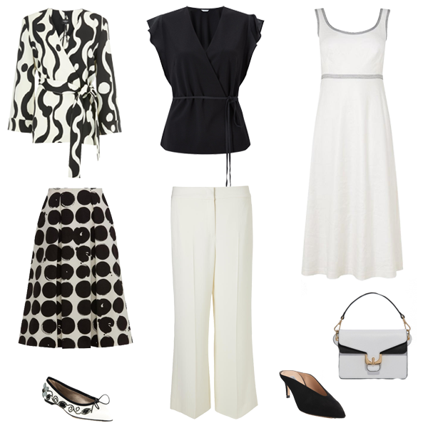monochrome pieces white dress, trousers, black wrap top, black white shoes capsule wardrobe colour palette