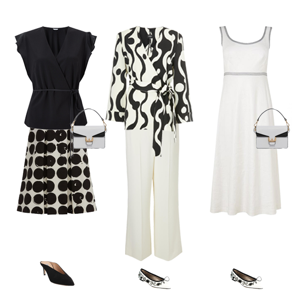 monochrome outfits white dress, trousers, black wrap top, black white shoes capsule wardrobe colour palette