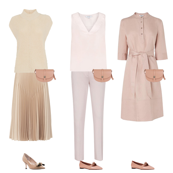 neutral colour pieces pink dress, trousers, top gold skirt, pink shoes capsule wardrobe colour palette