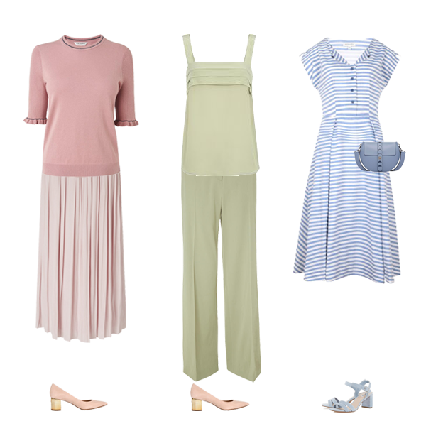 pastel pieces blue dress, soft green trousers, pink skirt, pink shoes capsule wardrobe colour palette