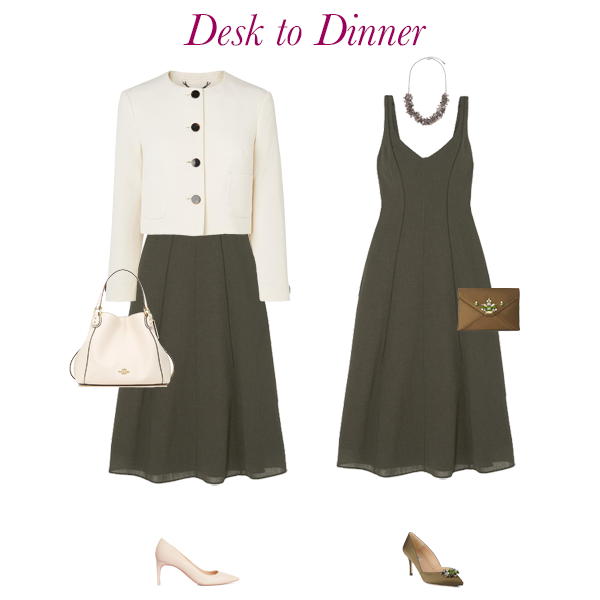 Summer outfit ideas, desk to dinner, green dress, Cefinn, Cream jacket, LK Bennett