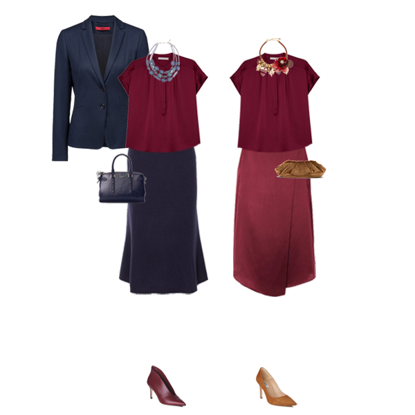 12 piece business wear capsule wardrobe  update, navy blazer, silk satin top and skirt, high waist trousers,